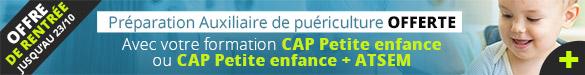 Offre de rentrée préparation Auxiliaire de puériculture avec CAP Petite Enfance