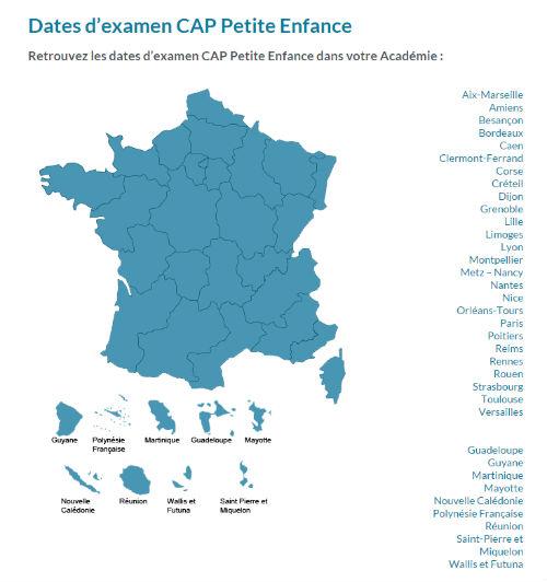 Carte dates examen CAP Petite Enfance par académie